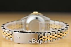 Ladies Rolex Datejust Blue Diamond Sapphire 18k Yellow Gold & Steel Watch