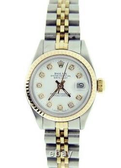 Ladies Rolex Datejust Gold & Stainless Steel Watch White Diamond Dial 6917