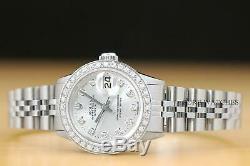 Ladies Rolex Datejust Silver Diamond Dial 18k White Gold & Steel Watch