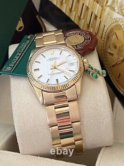 Ladies Rolex Midsize Date 31mm Ref. 6629 Yellow Gold Silver Dial Watch In Box