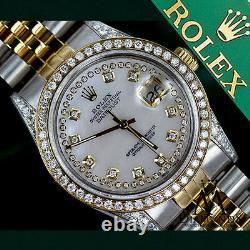 Ladies Rolex Steel & Gold 31mm Datejust Watch White MOP String Diamond Dial