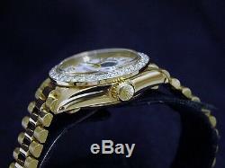 Lady Rolex Datejust 18K Yellow Gold President White MOP Diamond Dial 1ct Bezel