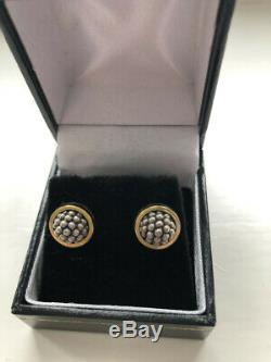 Lagos 18ct Yellow Gold + Silver Stud Earrings