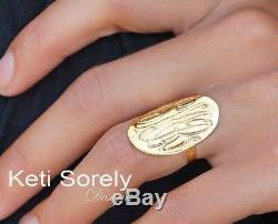 Large Hand Engraved Monogram Initials Ring 110K/14K Solid Gold, Silver with 24K G