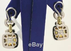 Lovely 18k Yellow Gold/silver Judith Ripka Earrings With Citrine, Diamonds! #t17