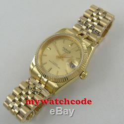 Luxury 36mm PARNIS yellow gold dial Datejust Miyota 8215 automatic mens watch