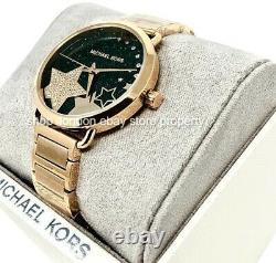 MICHAEL KORS MK3794 Portia Black Crystal Pave Dial Gold Tone Ladies Wrist Watch