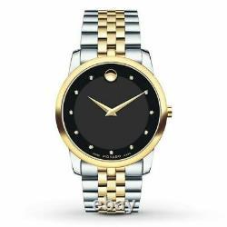 MOVADO 0606879 Black Gold Silver Diamond Museum Classic Men's Swiss Watch