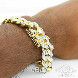Men Cuban Miami Link Bracelet 14k Gold Over Solid 925 Sterling Silver 8.5 Long