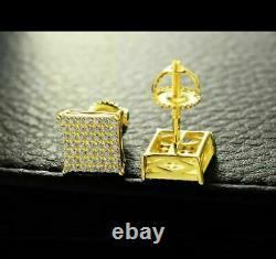 Men Sterling Silver Diamond Square Screw Back Stud Earrings 10k Yellow Gold Over