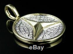 Men's 10K Yellow Gold Over 925 Silver Round Cut Diamond Pendant 1.50 Carat