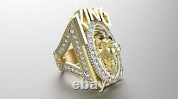 Men's 14k Yellow Gold Plated 1 ct Round Sim Diamond Lion Head Ring in 925 Silver