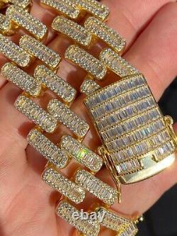 Men's 18mm Baguette Prong Cuban Bracelet Gold Plated Solid 925 Sterling Silver
