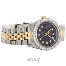 Men's 36mm Rolex DateJust Diamond Watch 18K Two Tone Jubilee Black Dial 2 CT
