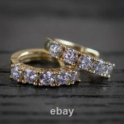 Men's Iced Diamond 14k Yellow Gold Sterling Silver Hinged Hoop Huggie Earrings