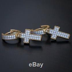 Men's Yellow Gold 925 Sterling Silver Iced CZ Drop Cross Hoop Huggie Earrings