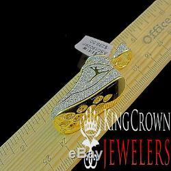Mens 10k Yellow Gold Silver Simu Diamond Jumpman Jordan Shoe Pendant Charm Chain