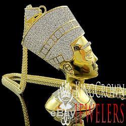Mens 14K Yellow Gold Silver Big XL Egyptian Queen Nefertiti Lab Diamond Pendant