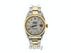Mens 2Tone Rolex 14k Gold/Stainless Steel Datejust withWhite MOP Diamond Dial 1601