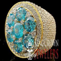 Mens Big Huge XXL Real Yellow Gold Silver Blue Topaz Jumbo Ring Band Lab Diamond