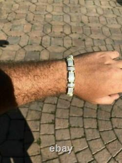 Mens Custom Bracelet 14k Yellow Gold Over Solid 925 Silver 12ct Manmade Diamonds