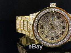 Mens Jewelry Unlimited Yellow Gold Steel Simulated Diamond Watch 45MM DJ-01