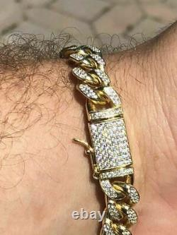 Mens Miami Cuban Link Bracelet 14k Yellow Gold Over Solid 925 Silver Diamonds