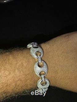 Mens Puffed Mariner Gucci Link Bracelet Real Solid 925 Sterling Silver ICED OUT