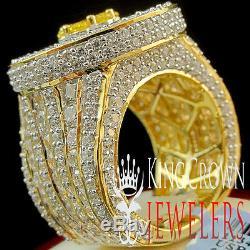Mens Real Yellow Gold Silver Big XXL Citrine Canary Jumbo Ring Band Lab Diamond