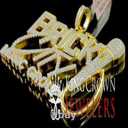 Mens Real Yellow Gold Silver Brick City Music Charm Simu Diamond Custom Pendant