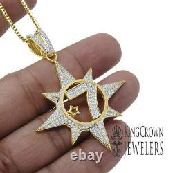 Mens Real Yellow Gold Silver Five Percenter Lab Diamond Pendant Charm Chain Set
