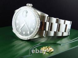 Mens Rolex 36MM Datejust Oyster Stainless Steel Black Dial Diamond Watch 2.15 Ct