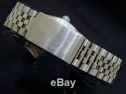 Mens Rolex Date Stainless Steel Watch SS Domed Bezel Silver Diamond Dial 1500
