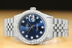 Mens Rolex Datejust Blue Dial 18k White Gold Diamond Bezel & Steel Watch