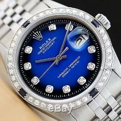 Mens Rolex Datejust Blue Vignette Sapphire Diamond 18k White Gold & Steel Watch