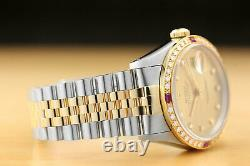 Mens Rolex Datejust Factory Dial 18k Gold Diamond Ruby & Steel Watch 16233
