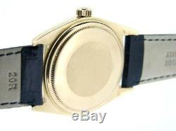 Mens Rolex Day-Date President 18K Yellow Gold Watch Black Band White Dial 1803