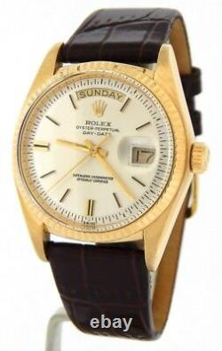 Mens Rolex Day-Date President 18K Yellow Gold Watch Brown Band Silver Dial 1803