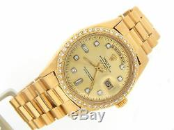 Mens Rolex Day Date President 18k Yellow Gold Watch Diamond Dial 1ct Bezel 1803