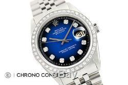 Mens Rolex Diamond Datejust 18K White Gold & Stainless Steel Blue Vignette Watch