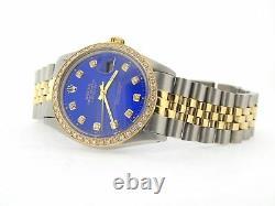 Mens Rolex Steel & Yellow Gold Datejust withSubmariner Blue Diamond Dial 1ct Bezel