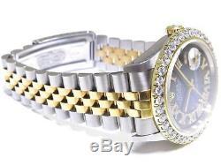 Mens Rolex Watch Datejust 3.00ctw G/VS2 Diamond Bezel Blue Face 2 Tone Gold