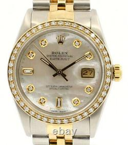 Mens Vintage ROLEX Oyster Perpetual Datejust 36mm MOP Gold DIAMOND Dial Watch