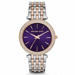 Michael Kors MK3353 Darci Silver Rose Gold Tone Crystal Pave Ladies Wrist Watch