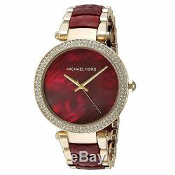 Michael Kors MK6427 39mm Parker Red Choronograph and Gold Women's Watch
