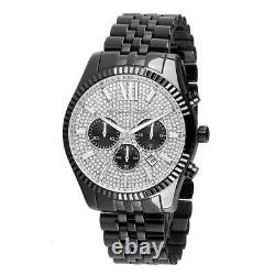 Michael Kors MK8605 Black Lexington Crystal Pave Chrono Men Watch Brand New