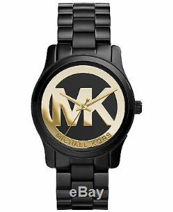 Michael Kors Mini Runway Black Gold Logo Watch 34MM MK6057 BRAND NEW AUTHENTIC