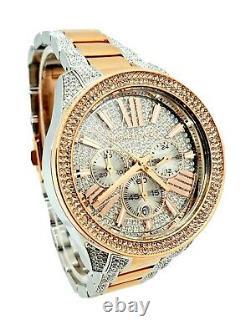 Michael Kors Wren MK6707 Two Tone Pave Glitz Rose Gold & Silver Wristwatch