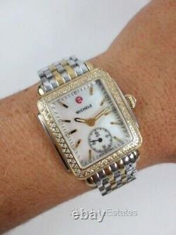 Michele Deco 16 Mid Gold Silver Two Tone Diamond Watch MWW06V000023 Refurb + Box