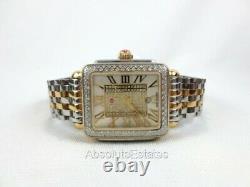 Michele Deco Madison Mid Pave Diamond Gold Silver Watch MWW06G000007 Refurb